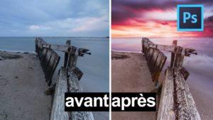 avant après photoshop couleurs paysage