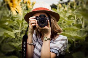 photographe chapeau tournesols appareil photo shooting