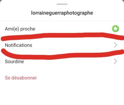 Notification publication instagram